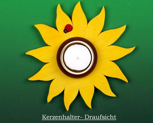 Seiffen Weihnachtshaus -  Teelichtleuchter Blume gelb - Bild 2