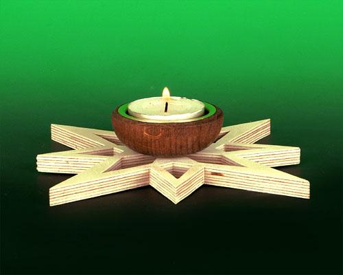 Seiffen Weihnachtshaus - Kerzenhalter für Teelichter Erzgebirge Holz Stern offen - Bild 1