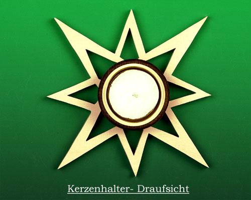 Seiffen Weihnachtshaus - Kerzenhalter für Teelichter Erzgebirge Holz Stern offen - Bild 2
