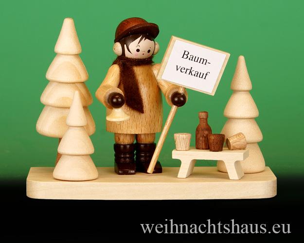 Seiffen Weihnachtshaus - Erzgebirge Winterkinder natur Weihnachtsbaumverkäufer - Bild 1