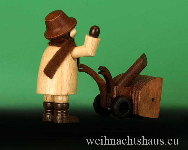 Seiffen Weihnachtshaus - Erzgebirge Winterkinder natur Mann mit Schneefräse - Bild 2