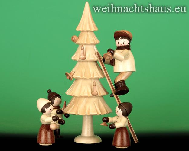 Seiffen Weihnachtshaus - Erzgebirge Winterkinder natur Weihnachtsbaum schmücken - Bild 1