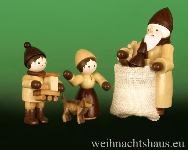 Seiffen Weihnachtshaus - Erzgebirge Winterkinder natur Weihnachtsmann Bescherung - Bild 2