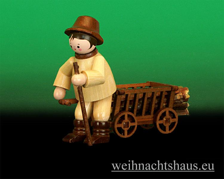Seiffen Weihnachtshaus - Miniatur natur Waldmann mit Handwagen - Bild 1