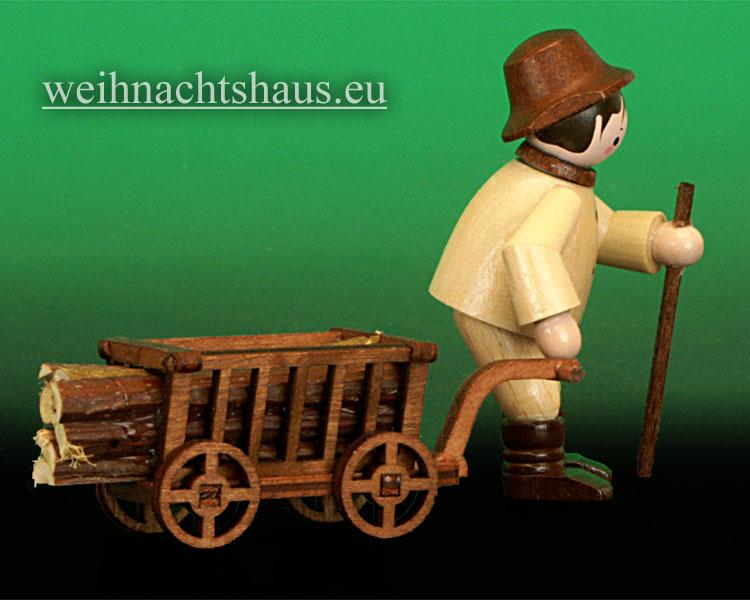 Seiffen Weihnachtshaus - Miniatur natur Waldmann mit Handwagen - Bild 2