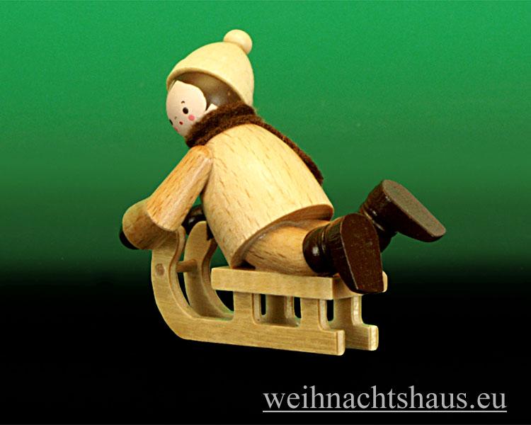 Seiffen Weihnachtshaus - Erzgebirge Winterkinder natur Rodler liegend - Bild 2