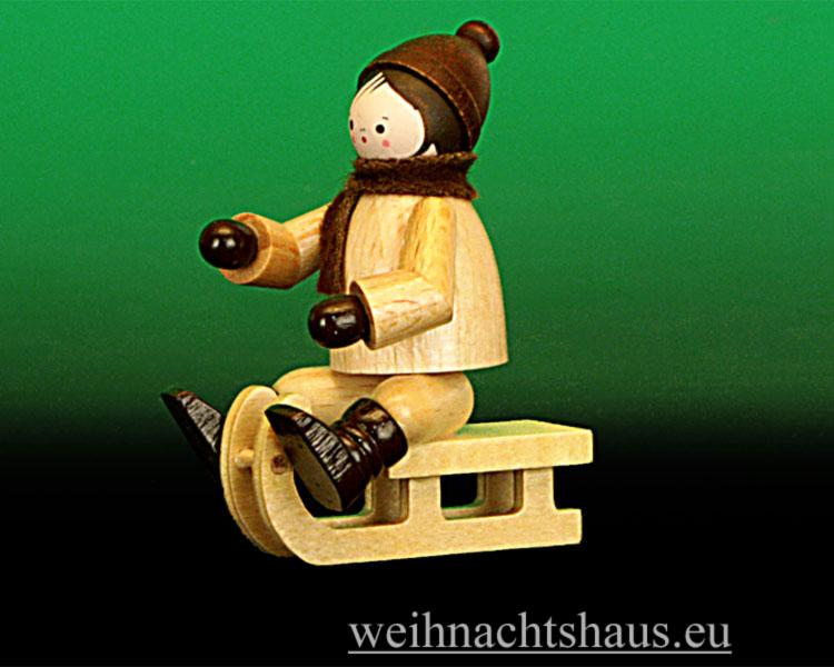 Seiffen Weihnachtshaus - Erzgebirge Winterkinder natur Winterkind Rodler sitzend - Bild 1