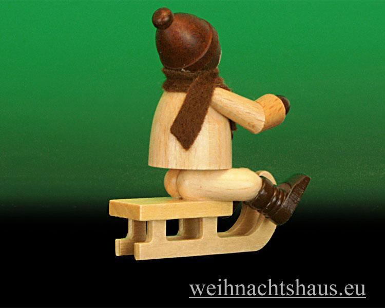 Seiffen Weihnachtshaus - Erzgebirge Winterkinder natur Winterkind Rodler sitzend - Bild 2