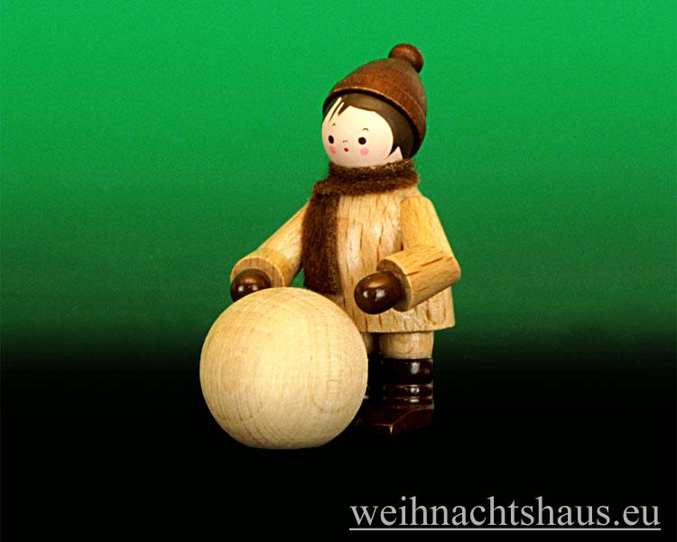 Seiffen Weihnachtshaus - Erzgebirge Winterkinder natur Kugelroller - Bild 1