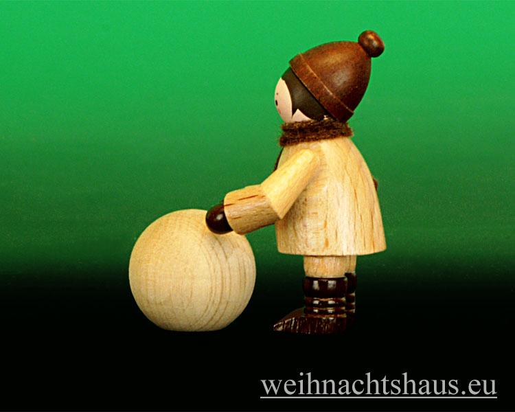 Seiffen Weihnachtshaus - Erzgebirge Winterkinder natur Kugelroller - Bild 2