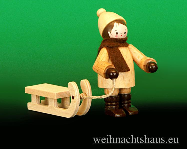 Seiffen Weihnachtshaus - Erzgebirge Winterkinder natur Schlittenkind stehend - Bild 1