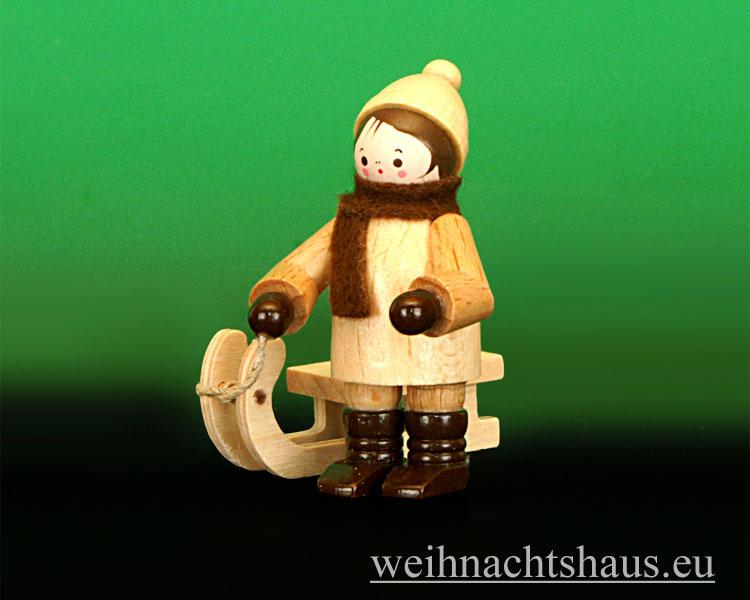 Seiffen Weihnachtshaus - Erzgebirge Winterkinder natur Schlittenkind stehend - Bild 2