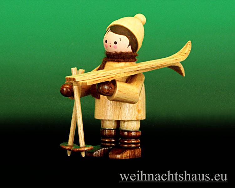 Seiffen Weihnachtshaus - Erzgebirge Winterkinder natur Skiträger waagerecht - Bild 1