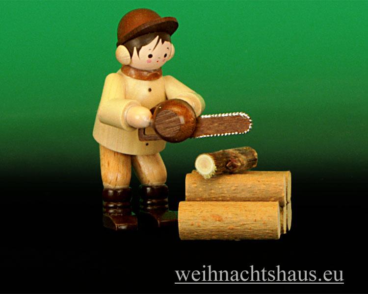 Seiffen Weihnachtshaus - Miniatur natur Motorkettensäger 2- teilig - Bild 1