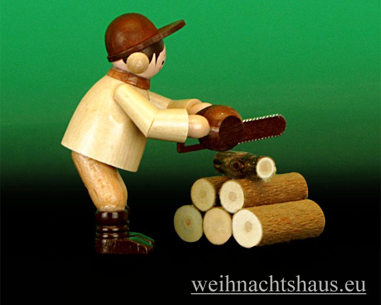 Seiffen Weihnachtshaus - Miniatur natur Motorkettensäger 2- teilig - Bild 2