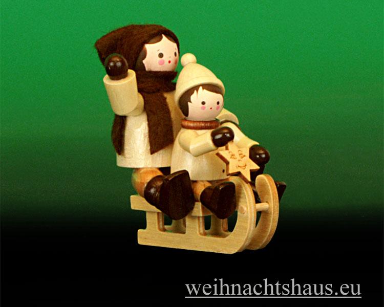 Seiffen Weihnachtshaus - Erzgebirge Winterkinder natur Rodler Schlitten Mutter mit Kind - Bild 1