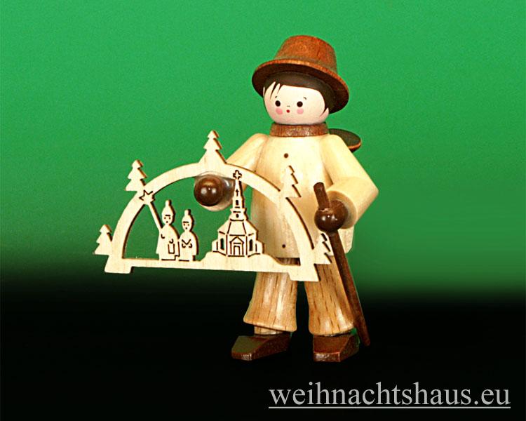 Seiffen Weihnachtshaus - Miniatur natur Schwibbogenhändler - Bild 1