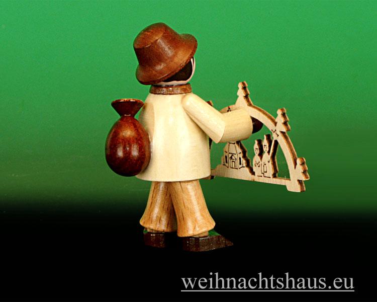 Seiffen Weihnachtshaus - Miniatur natur Schwibbogenhändler - Bild 2