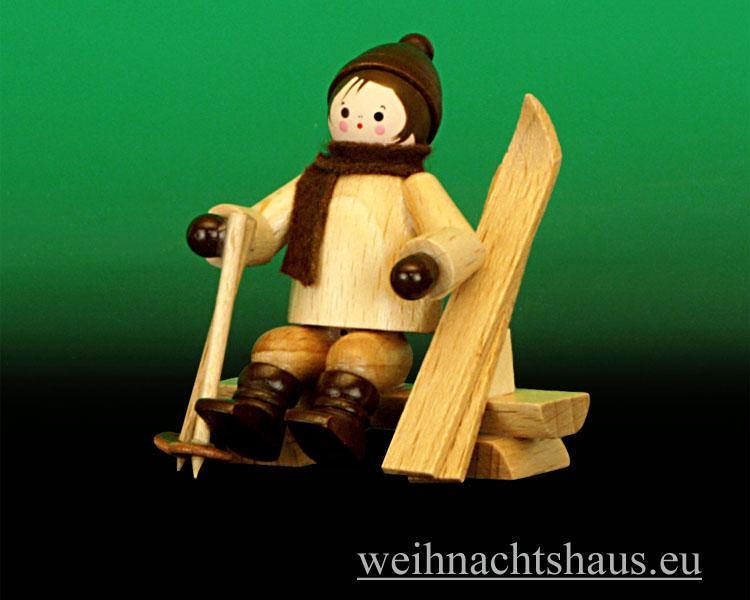 Seiffen Weihnachtshaus - Erzgebirge Winterkinder Winterkind auf Bank - Bild 1