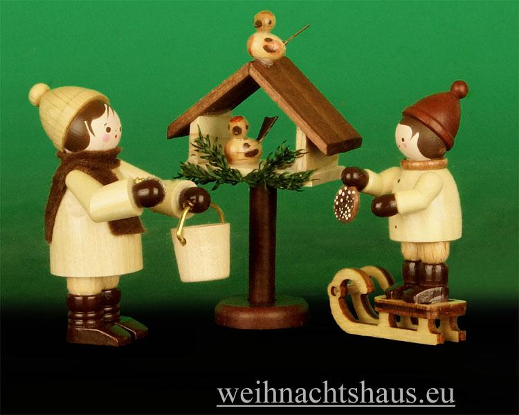 Seiffen Weihnachtshaus - Erzgebirge Winterkinder natur Vogelfütterung 3- teilig - Bild 1