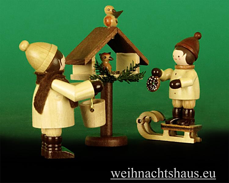 Seiffen Weihnachtshaus - Erzgebirge Winterkinder natur Vogelfütterung 3- teilig - Bild 2