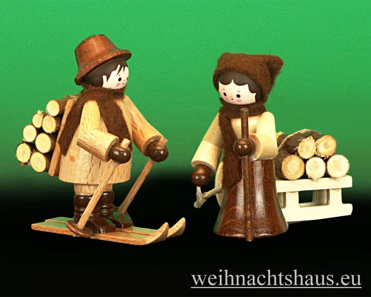 Seiffen Weihnachtshaus - Miniatur natur Holzleute 2 teilig - Bild 1