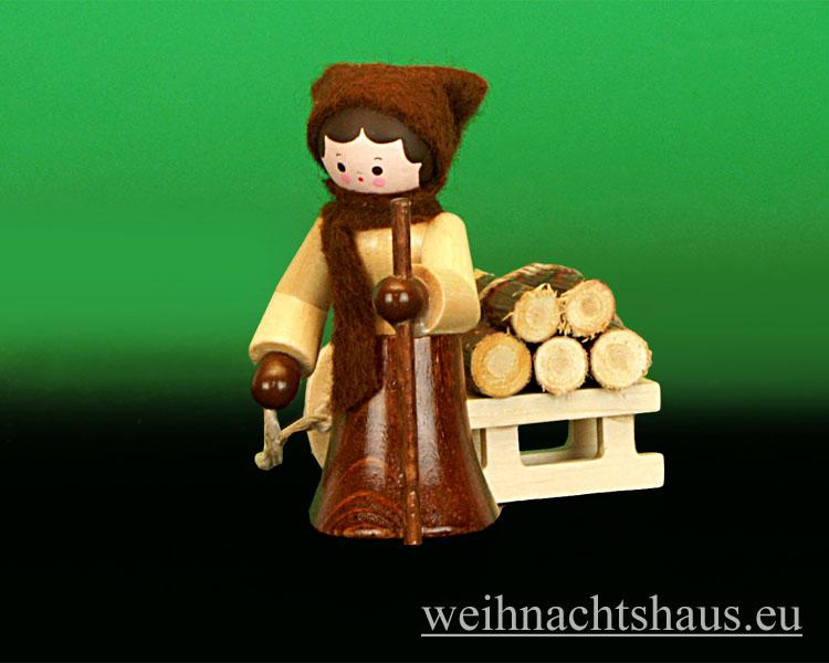 Seiffen Weihnachtshaus - Miniatur natur Holzleute 2 teilig - Bild 2