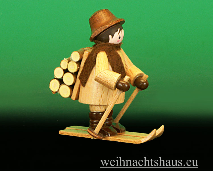 Seiffen Weihnachtshaus - Miniatur natur Holzleute 2 teilig - Bild 3