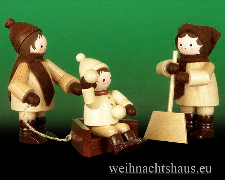 Seiffen Weihnachtshaus - Erzgebirge Winterkinder natur Winterdienst 3- teilig - Bild 1