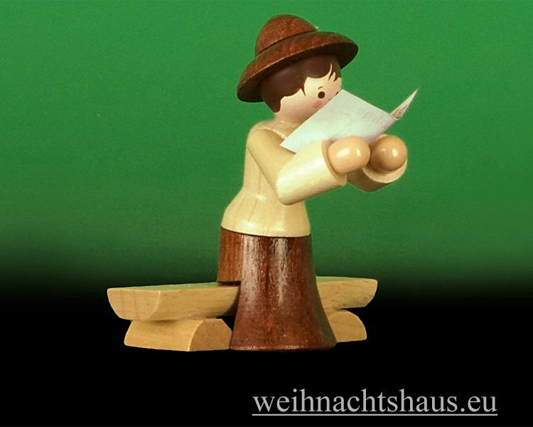 Seiffen Weihnachtshaus - Miniatur natur Wandersfrau auf Bank - Bild 1