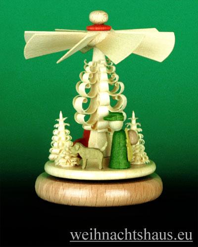 Seiffen Weihnachtshaus - Miniaturpyramide stehend Krippe farbig - Bild 1