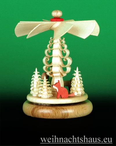 Seiffen Weihnachtshaus - Miniaturpyramide stehend Krippe farbig - Bild 2