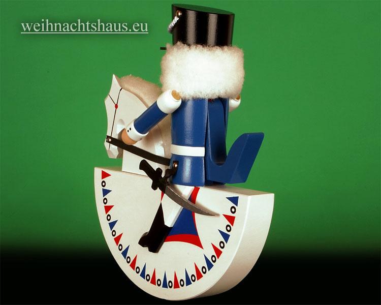 Seiffen Weihnachtshaus - Reiterlein-Nußknacker-Erzgebirge 27cm weißes Pferd/blauer Reiter - Bild 2