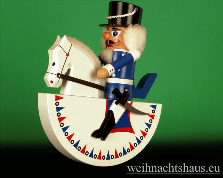 Seiffen Weihnachtshaus - Reiterlein-Nußknacker-Erzgebirge 27cm weißes Pferd/blauer Reiter - Bild 1