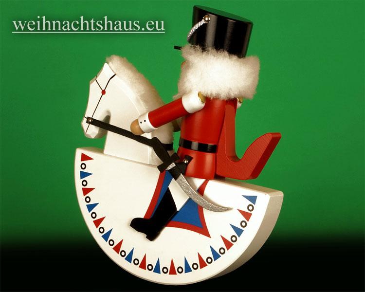 Seiffen Weihnachtshaus - Reiterlein-Nußknacker-Erzgebirge-27cm-weißes Pferd/roter-Reiter - Bild 2