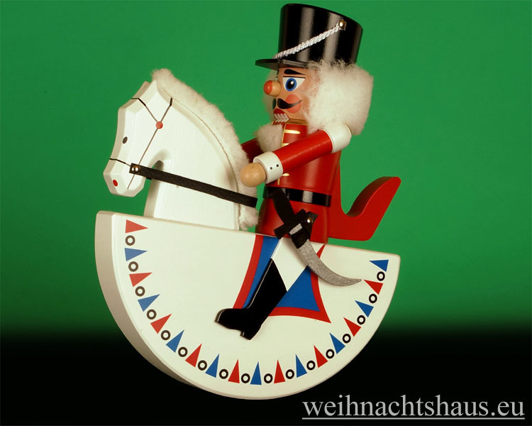 Seiffen Weihnachtshaus - Reiterlein-Nußknacker-Erzgebirge-27cm-weißes Pferd/roter-Reiter - Bild 1