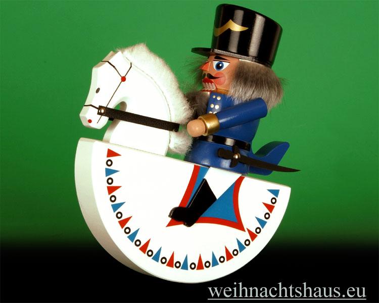 Seiffen Weihnachtshaus - Reiterlein-Nußknacker-Erzgebirge 19cm-weißes-Pferd/blauer-Reiter - Bild 1