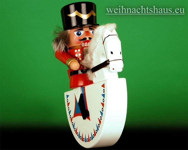 Seiffen Weihnachtshaus - Reiterlein-Nußknacker-Erzgebirge 19cm weißes Pferd/roter Reiter - Bild 2