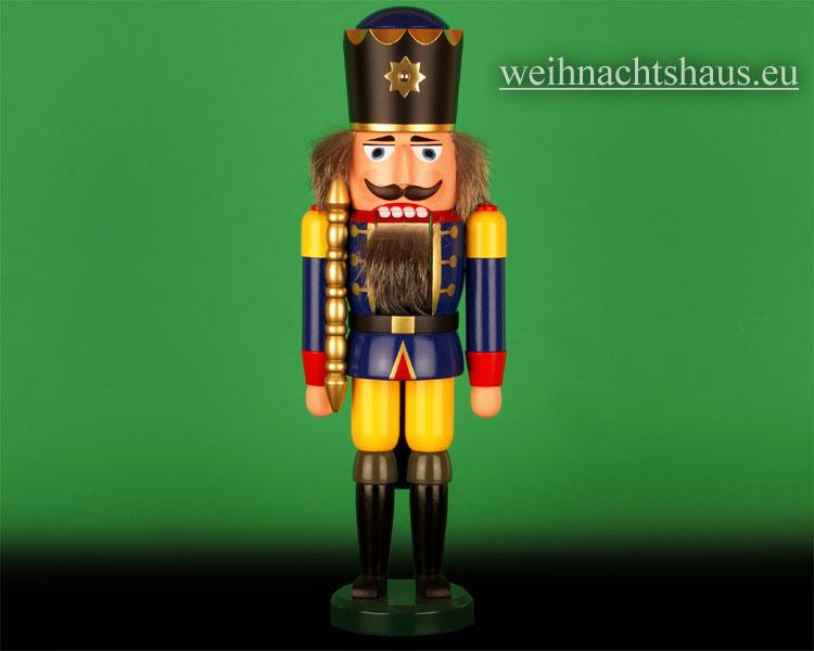 Seiffen Weihnachtshaus - Nußknacker 38cm farbig König blau mit Zepter - Bild 1