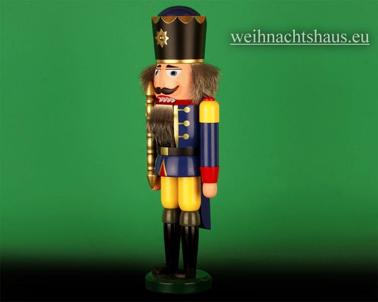 Seiffen Weihnachtshaus - Nußknacker 38cm farbig König blau mit Zepter - Bild 2