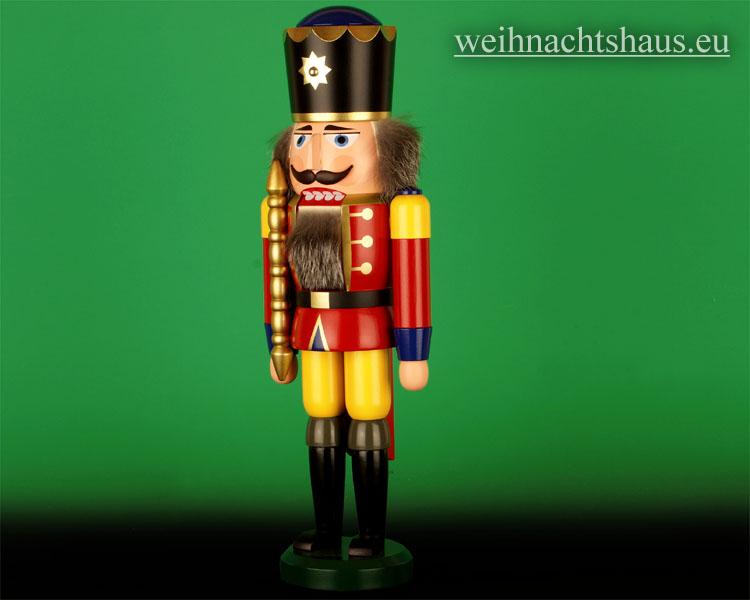 Seiffen Weihnachtshaus - Nußknacker 38cm farbig König mit Zepter - Bild 2