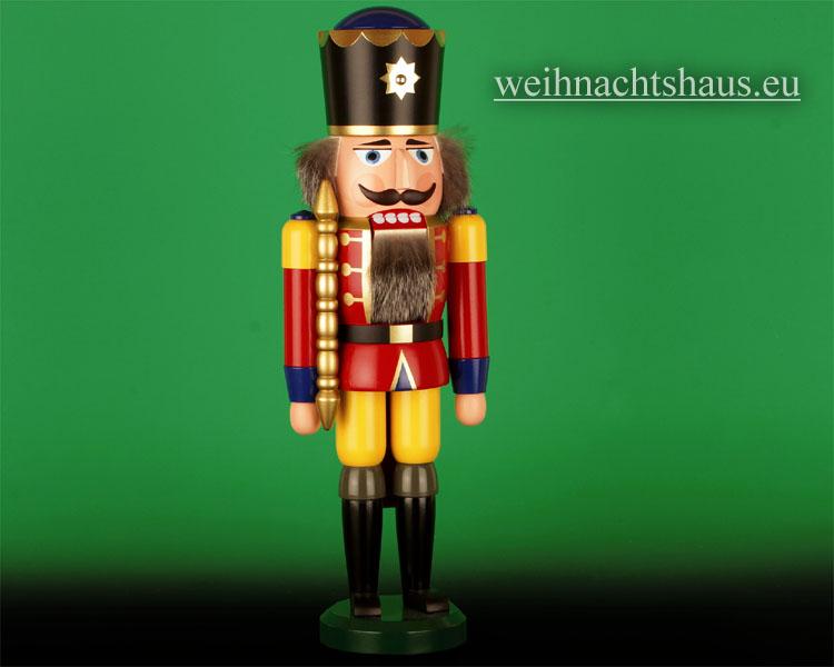 Seiffen Weihnachtshaus - Nußknacker 38cm farbig König mit Zepter - Bild 1