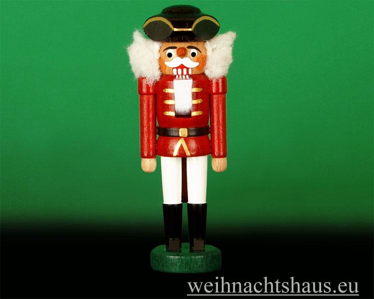Seiffen Weihnachtshaus - Nußknacker -- Erzgebirge 14cm farbig Dreispitz - Bild 1