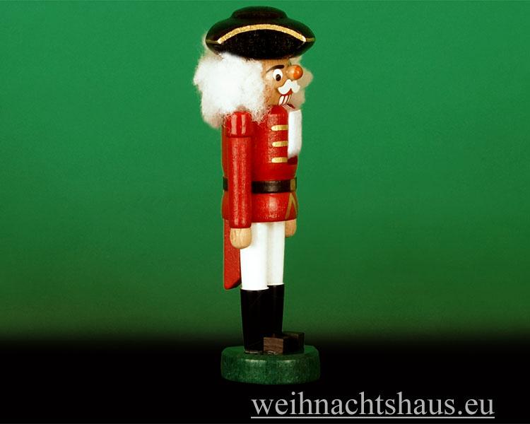 Seiffen Weihnachtshaus - Nußknacker -- Erzgebirge 14cm farbig Dreispitz - Bild 2
