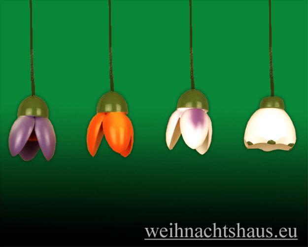 Seiffen Weihnachtshaus - <!--01-->Osterbaumbehang farbig Satz 4 Frühlingsblüten - Bild 1