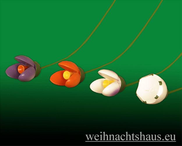 Seiffen Weihnachtshaus - <!--01-->Osterbaumbehang farbig Satz 4 Frühlingsblüten - Bild 2
