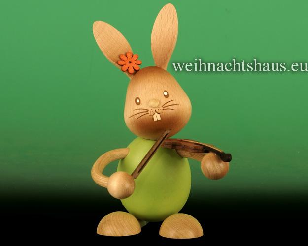 Seiffen Weihnachtshaus - Stupsi        Osterhase- Kuhnert  mit Geige Neu 2020 - Bild 1