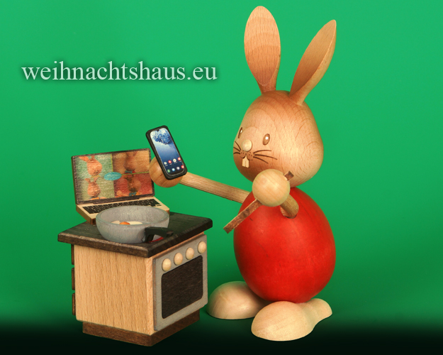 Seiffen Weihnachtshaus - Stupsi         Osterhase- Kuhnert  im Homeoffice Neu 2021 Sonderedition - Bild 1