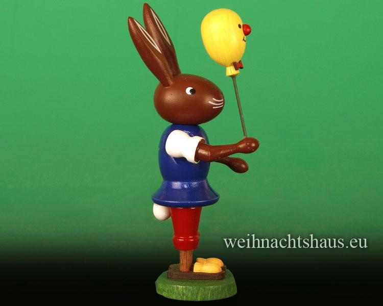 Seiffen Weihnachtshaus - Osterhase 10cm mit Kücken-Luftballon Neu 2017 - Bild 2