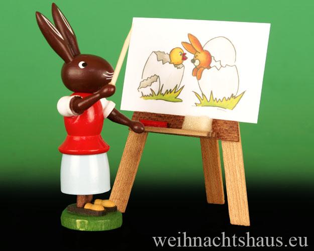 Seiffen Weihnachtshaus - Osterhassenfrau 10cm Lehrerin mit Tafel - Bild 1
